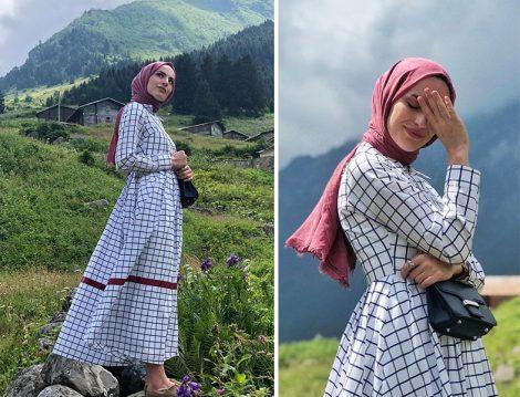 kkdesignn Kübra Çetinkaya Ekose Elbise Modeli