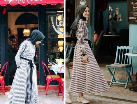 kkdesignn Kübra Çetinkaya Siyah Beyaz Çizgili Elbise Modeli