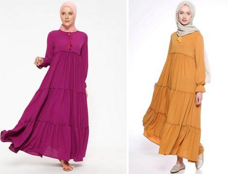 Beha Tesettür Fırfırlı Elbise Modelleri