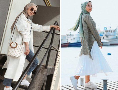 Beyaz Renkle Tesettür Giyim Kombinleri