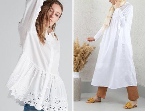 Beyaz Tesettür Gömlek ve Tunik Modeli