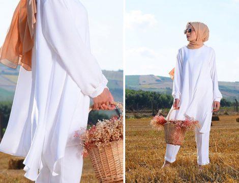 Elif ESER Beyaz Duple Paça Pantolon ve Beyaz Tunik Modelleri