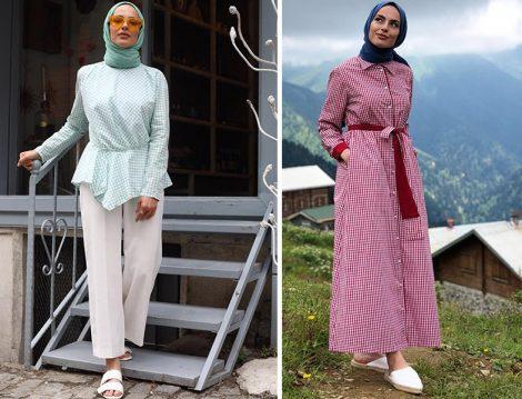 Elif Küçüksarı Pötikare Bluz ve Elbise Kombinleri