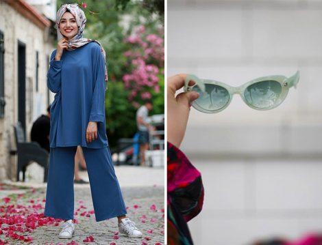 Gamze Özkul Mavi Basic Tunik & Pantolon İkili Takım ve XS Gözlük