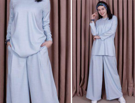 Kübra Biriktir Mavi Sedef Keten Pantolon & Tunik İkili Takım
