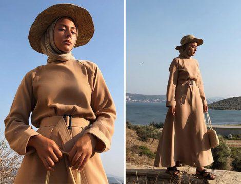 Kadriye Baştürk Camel Kemerli Elbise