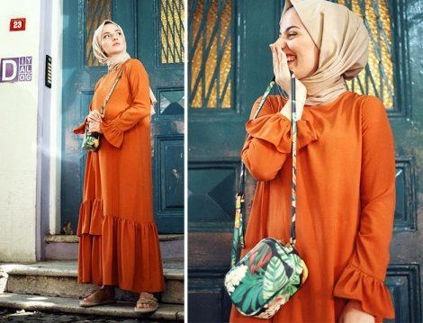 Kevser Sarıoğlu Turuncu Fırfır Detaylı Elbise