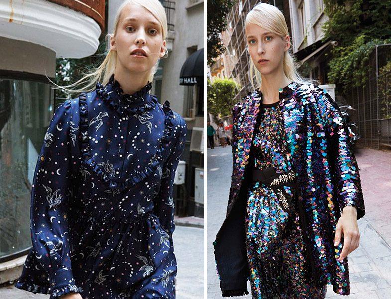 Machka 2018-2019 Sonbahar Kış Desenli Elbise ve Payetli İkili Takım