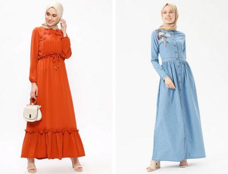 Nakışlı Tesettür Elbise Modelleri 2018
