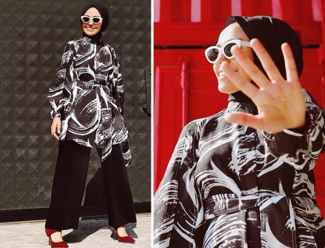 Qooqstore Siyah Beyaz Desenli Kimono Modeli