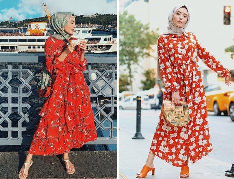 Rimel Aşkına Çiçek Desenli Elbise Kombinleri