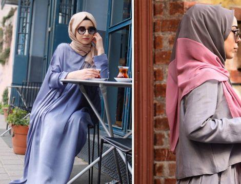 Sümeyra Yılmaz Tasarım Mavi Chanel Elbise Tunik ve Argite Eşarp Vizon Gül Kurusu İki Renkli Şifon Şal
