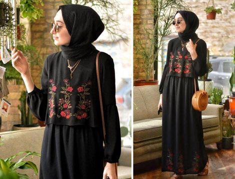 Seçil Store Siyah Nakışlı Elbise Modeli