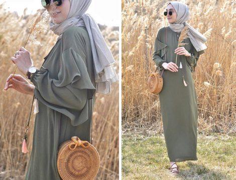 Seçil Store Yeşil Elbise Bohem Stil