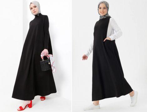Siyah Tesettür Elbise Modeli