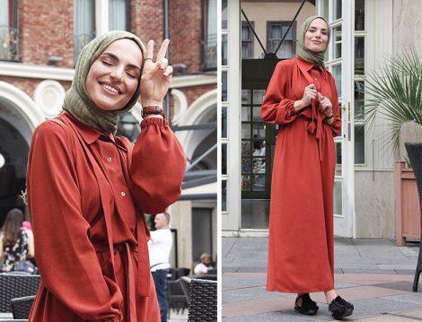 Suud Colletion Kiremit Salaş Elbise