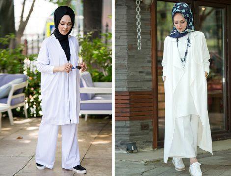 İnşirah Beyaz Kap ve Bol Pantolon Modelleri