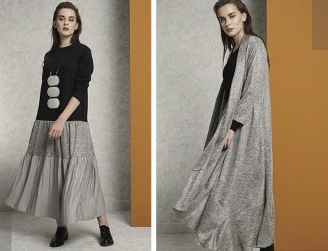 Almarwah Black Siyah Gri Elbise ve Salaş Hırka Modelleri