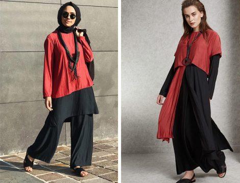 Almarwah Black Siyah Kırmızı İkili Takım ve Elbise