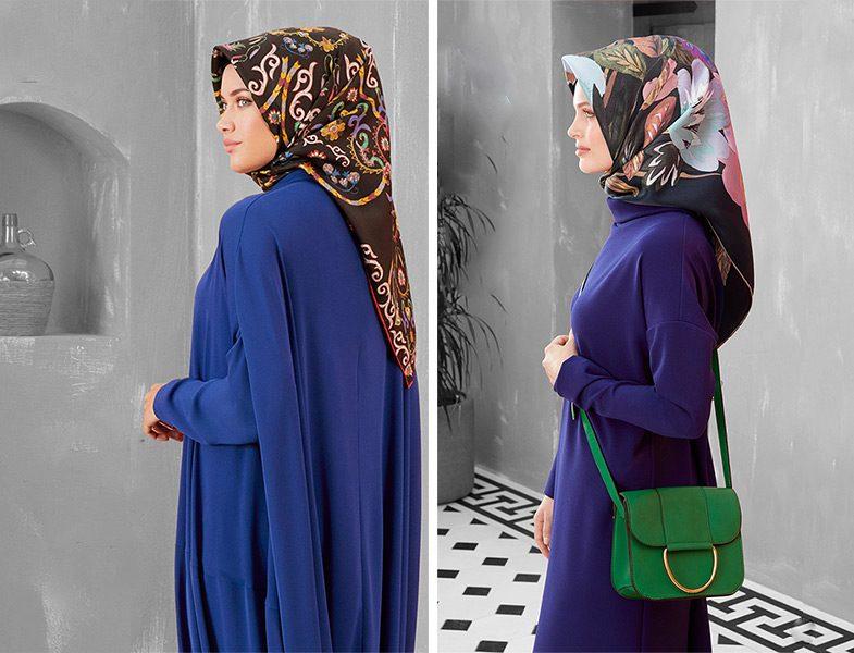 Armine 2018 -19 Sonbahar Kış Mavi Elbise Modelleri