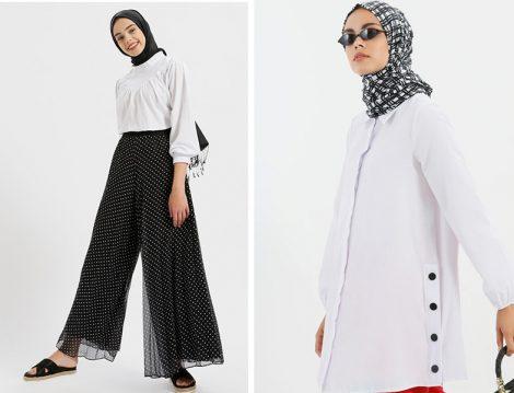 Beyaz Gömlek ve Siyah Bol Pantolon Modelleri