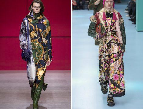 Dünya Modasında 2018 Sonbahar Kış Eşarp Baskılı Elbise Modelleri