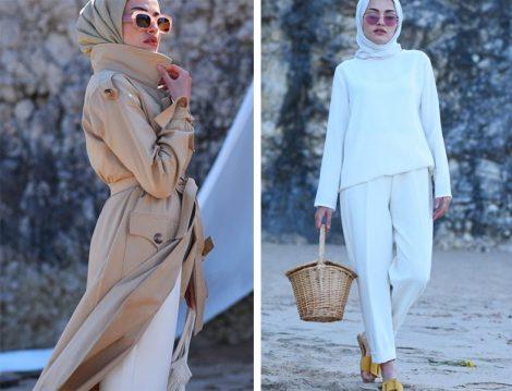 Elif Eser Camel Trençkot ve Beyaz Pantolon Modeli