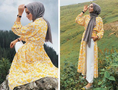 Kevser Sarıoğlu Sarı Çiçek Desenli Tunik Modeli