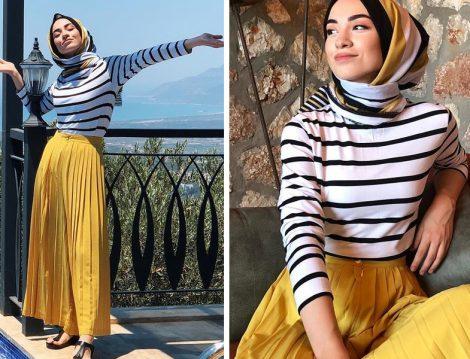 Kevser Sarıoğlu Sarı Pileli Etek Pantolon Modeli