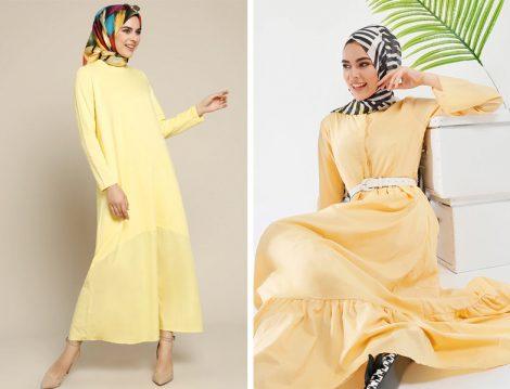 Refka Sarı Tesettür Elbise Modelleri