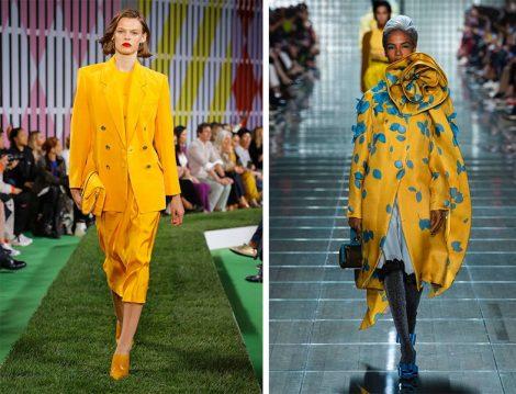 Sarı Renk Takım ve Manto Modelleri