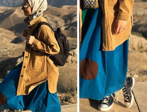 Yamalı Elbise Kadife Ceket Kombini
