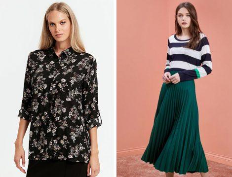Yeşil Piliseli Etek ve Desenli Bluz