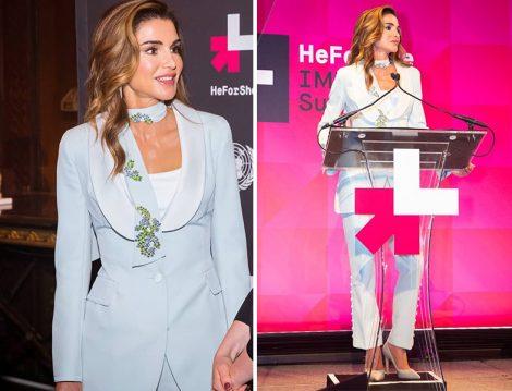 Ürdün Kraliçesi Rania al Abdullah'ın Buz Mavisi Giyim Stili