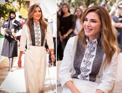Ürdün Kraliçesi Rania al Abdullah'ın Ekru Takımla Zarif Stili