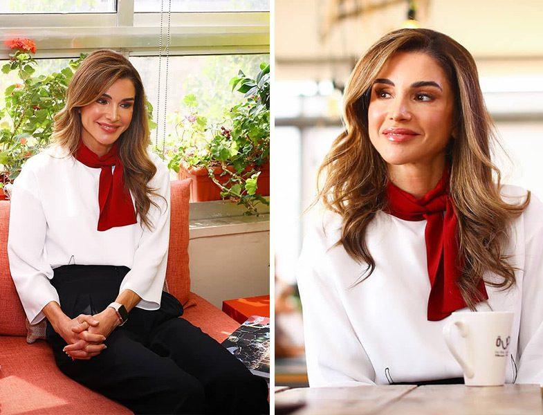 Ürdün Kraliçesi Rania al Abdullah'ın Siyah Beyaz Ofis Stili