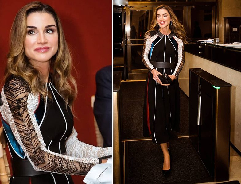 Ürdün Kraliçesi Rania al Abdullah'ın Siyah Elbise Stili