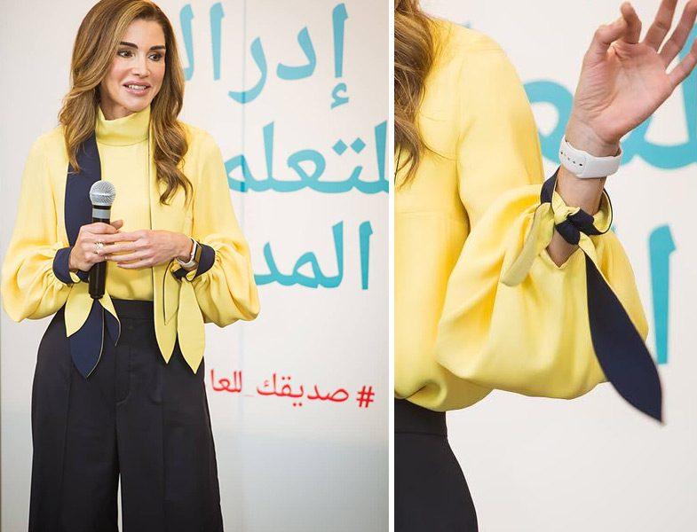 Ürdün Kraliçesi Rania al Abdullah'ın Siyah-Sarı Giyim Stili