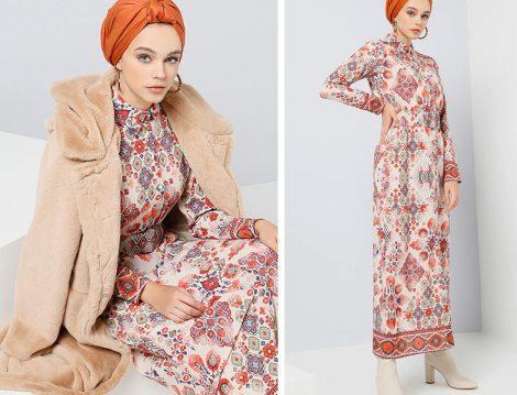 Benin Kırmızı Boydan Düğmeli Beli Bağcıklı Elbise