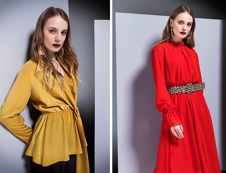 Berrin İstanbul 2018-19 Sarı Bluz ve Kırmızı Elbise Modelleri