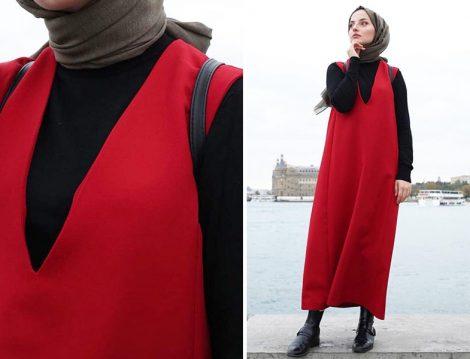 Kırmızı Jile ve Siyah Bluz Kombini