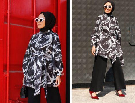 Qooqstore Siyah Beyaz Desenli Tunik