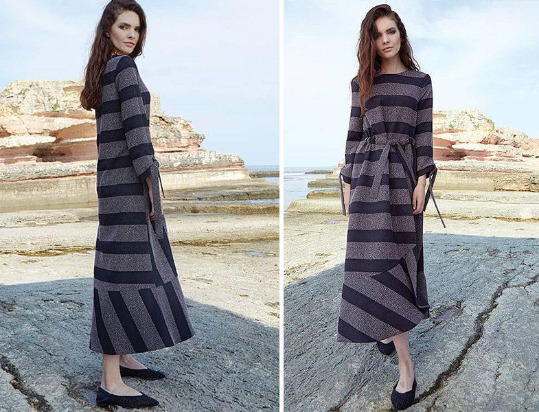 Qui Prive Official Siyah Gri Çizgili Elbise
