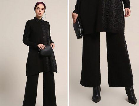 Refka Siyah Tunik & Pantolon Triko Takım