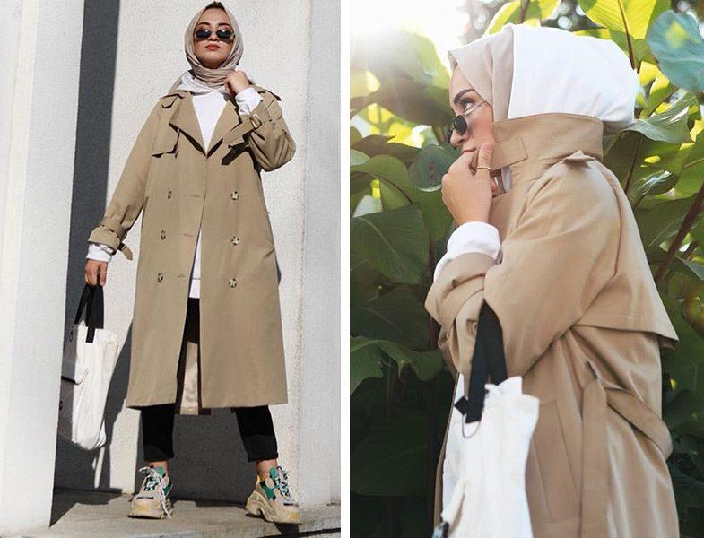 Suud Collection Camel Trençkot ve Ekru Sweatshirt Modeli