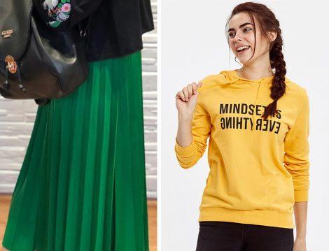 Yeşil Piliseli Etek ve Sarı Sweatshirt