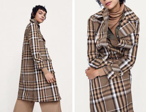 Zara 2018-19 Sonbahar Kış Ekose Trençkot Modeli