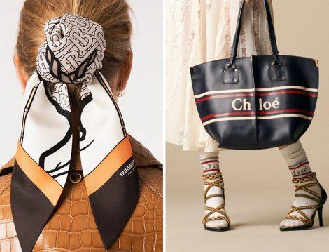 Burberry Logolu Eşarp ve Chloe Logolu Çanta-Çorap