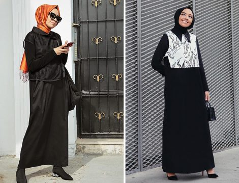 File Yelek ve Beyaz Süveter Detaylı Siyah Elbise Modelleri