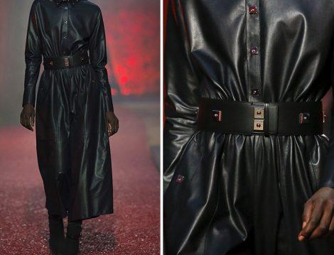 Hermes Retro Kemer Detaylı Deri Elbise